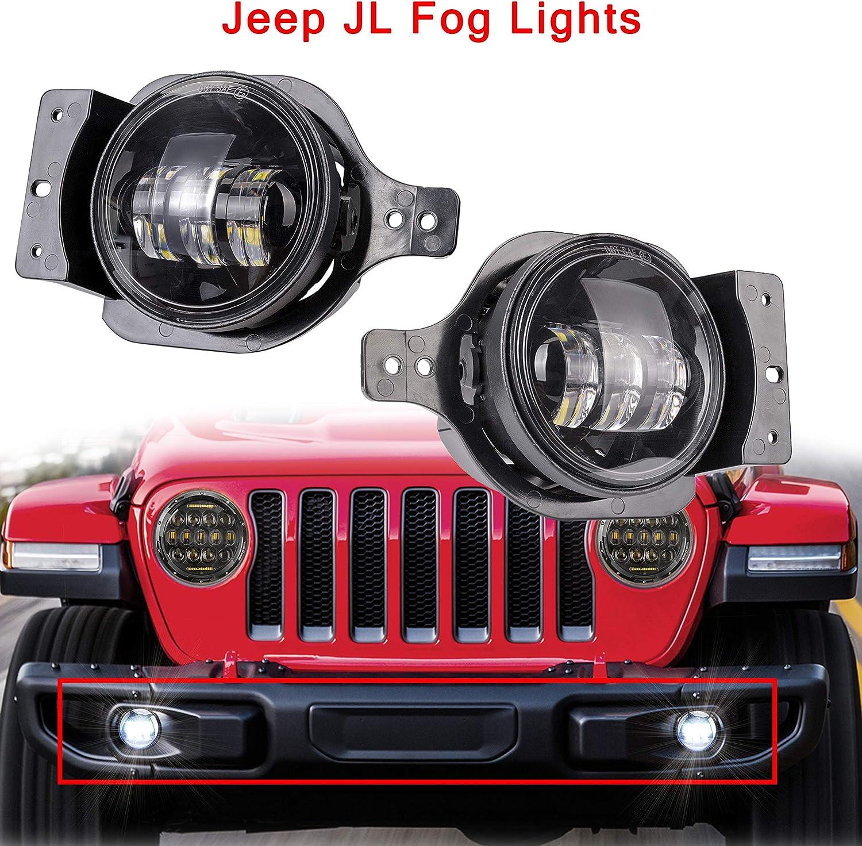 Car Driving Lamp For JEEP WRANGLER JL 2018 2019 LED Fog Lights White 6000K
