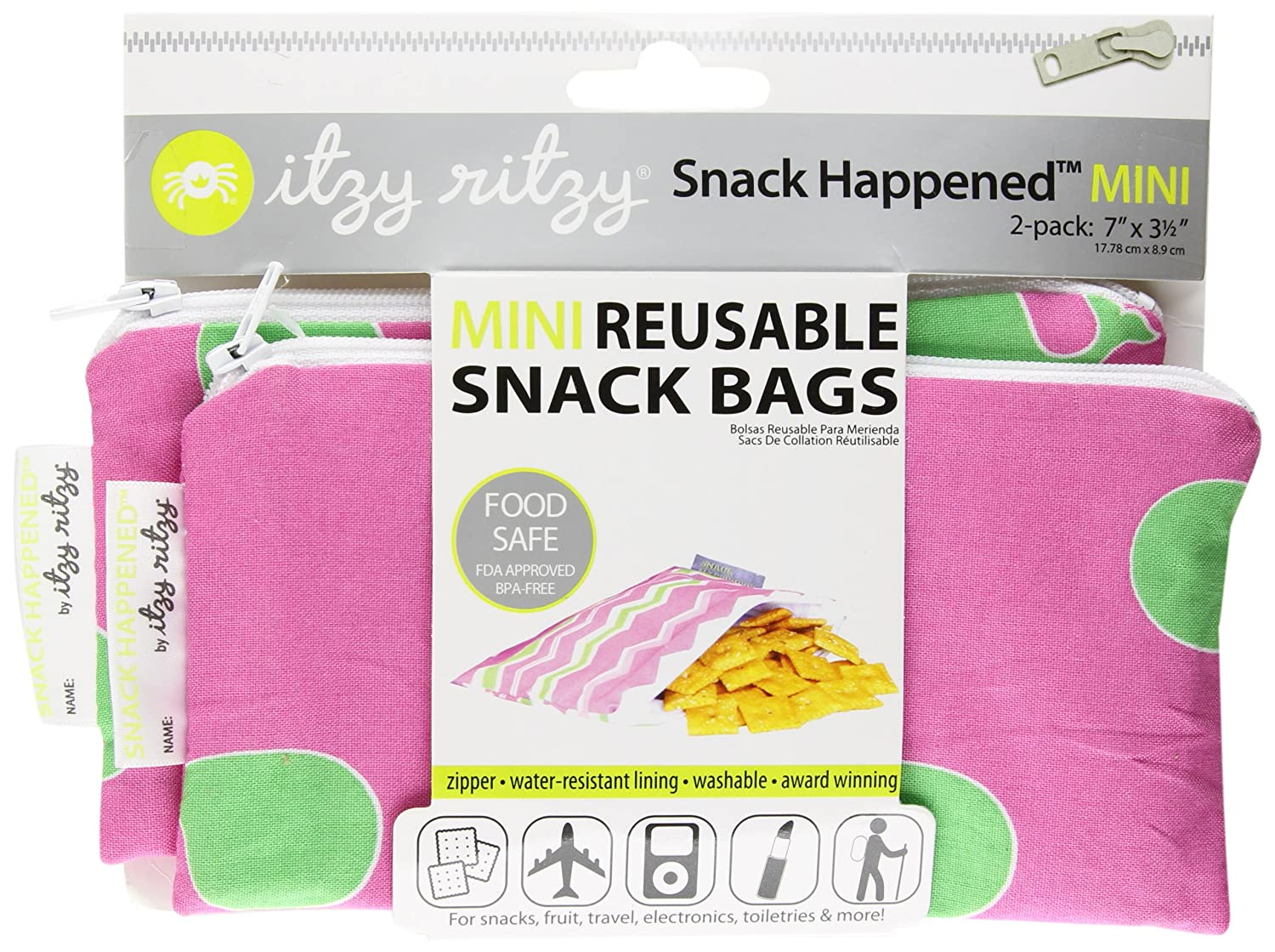 Itzy Ritzy Snack HappensSnack Mini Reusable Snack Bag, Whale Watching Pink, 2-Count (Discontinued...