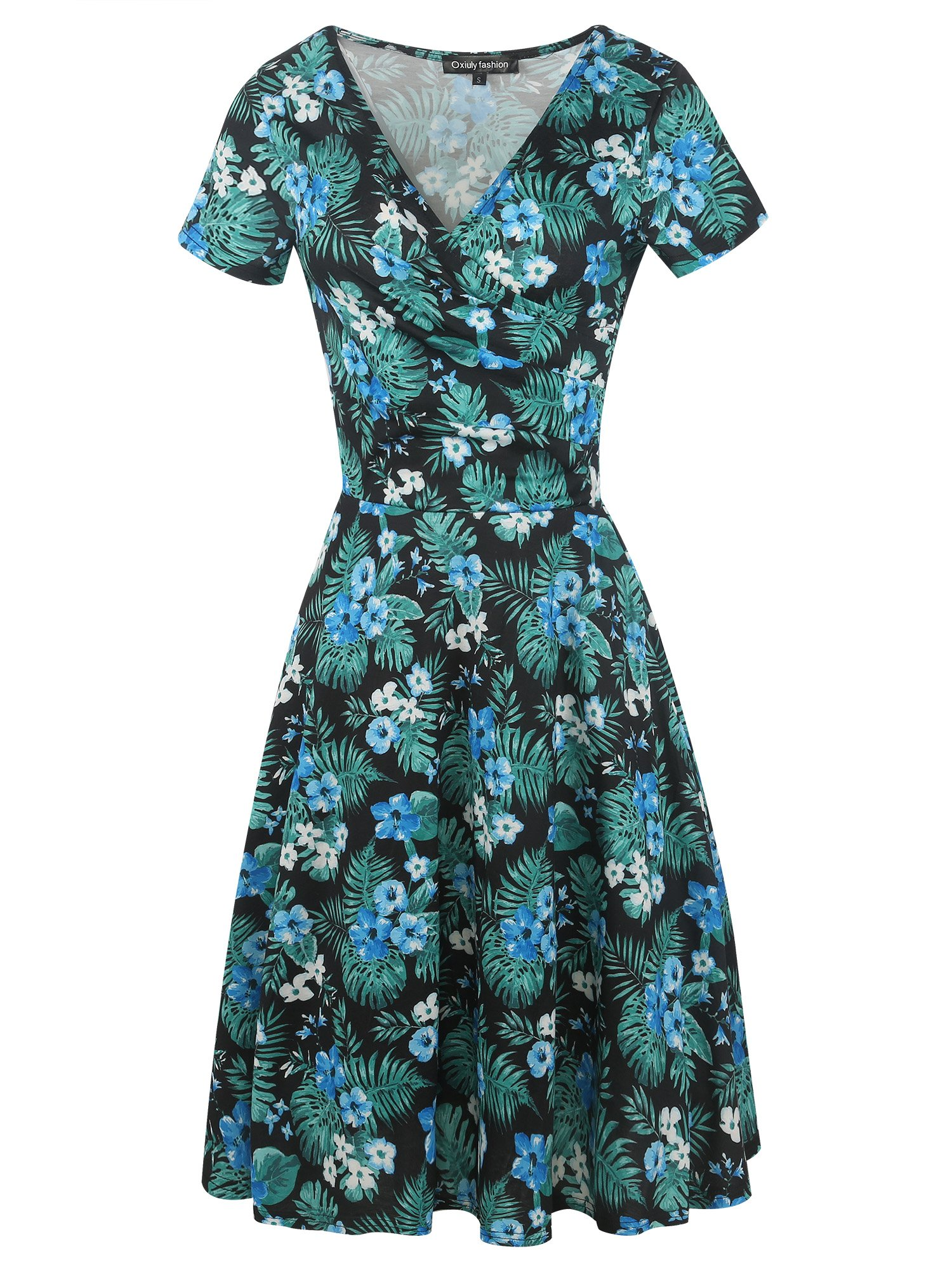 oxiuly Women's Vintage Criss-Cross Necklines V-Neck Short Sleeve Floral Casual Work Swing Dress OX288 (Green, M)