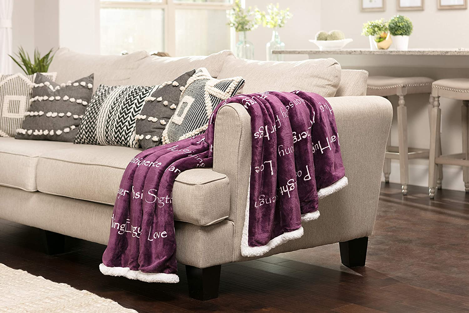 Chanasya Warm Hugs Positive Energy Healing Thoughts Caring Gift Throw Blanket - Sherpa Microfiber Comfort Gift Throw - Get Well Soon Gift for Women Men Cancer Patient - Aubergine Blanket: Home & Kitchen
