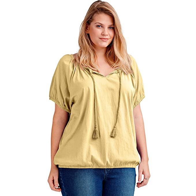 37476053bf64 Ellos Women's Plus Size Notch Neck Blouson Tee at Amazon Women's ...