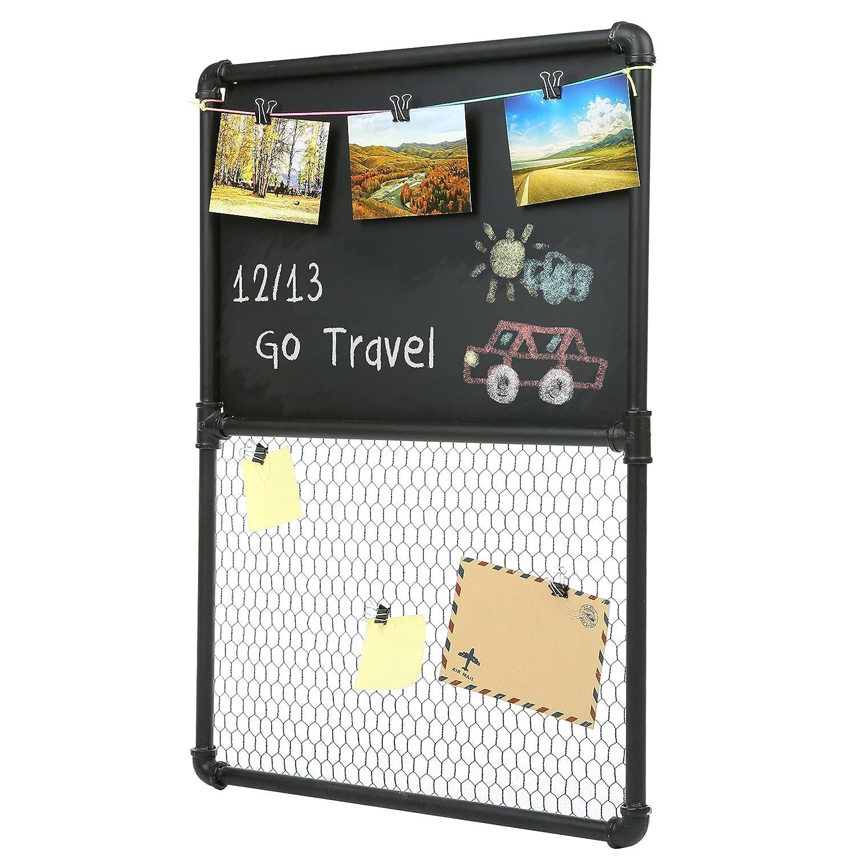 Amazon.com : Wall Mounted Pipe Design Magnetic Metal Chalkboard ...