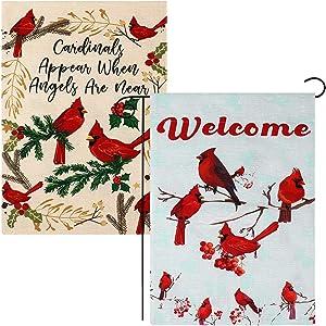 Aneco 2 Pack Red Cardinal Bird Garden Flag Vertical Double Sided 12 x 18 Inch Garden Flag for Winter/Christmas Garden Flag Flag Outdoor Decor