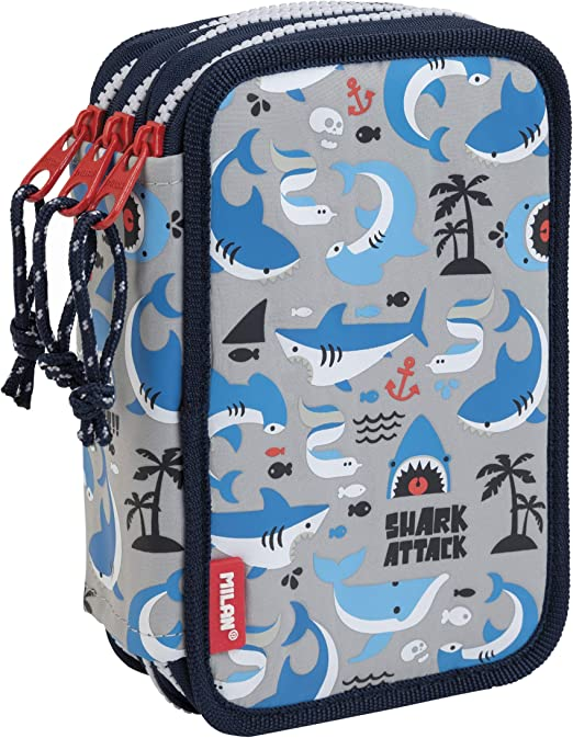 MILAN Plumier 3 pisos con contenido Shark Attack, gris: Amazon.es: Oficina y papelería