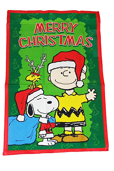 Great PEANUTS SNOOPY AND CHARLIE BROWN MERRY CHRISTMAS FLAG~SIZE 12u0026quot; ...