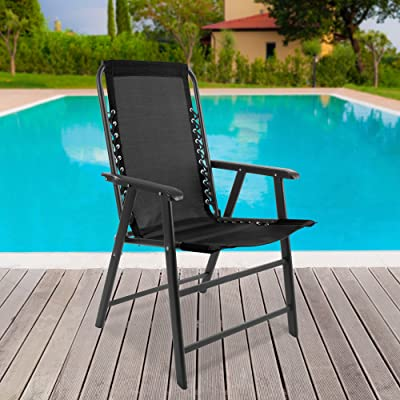 Suspension Folding Chair for Indoor/Outdoor Use- Portable Armchair with Durable Frame for Sport Events, Patio, Beach and More by Pure Garden (Black) : Garden & Outdoor