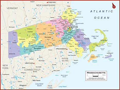 Amazon.com: Academia Mapas – Massachusetts estado Muro MAPA ...