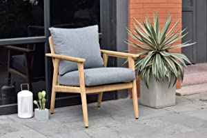 Amazonia Sandyport Durable Outdoor Furniture Made of Teak | Olefin Cushions Patio Armchair, Light Brown