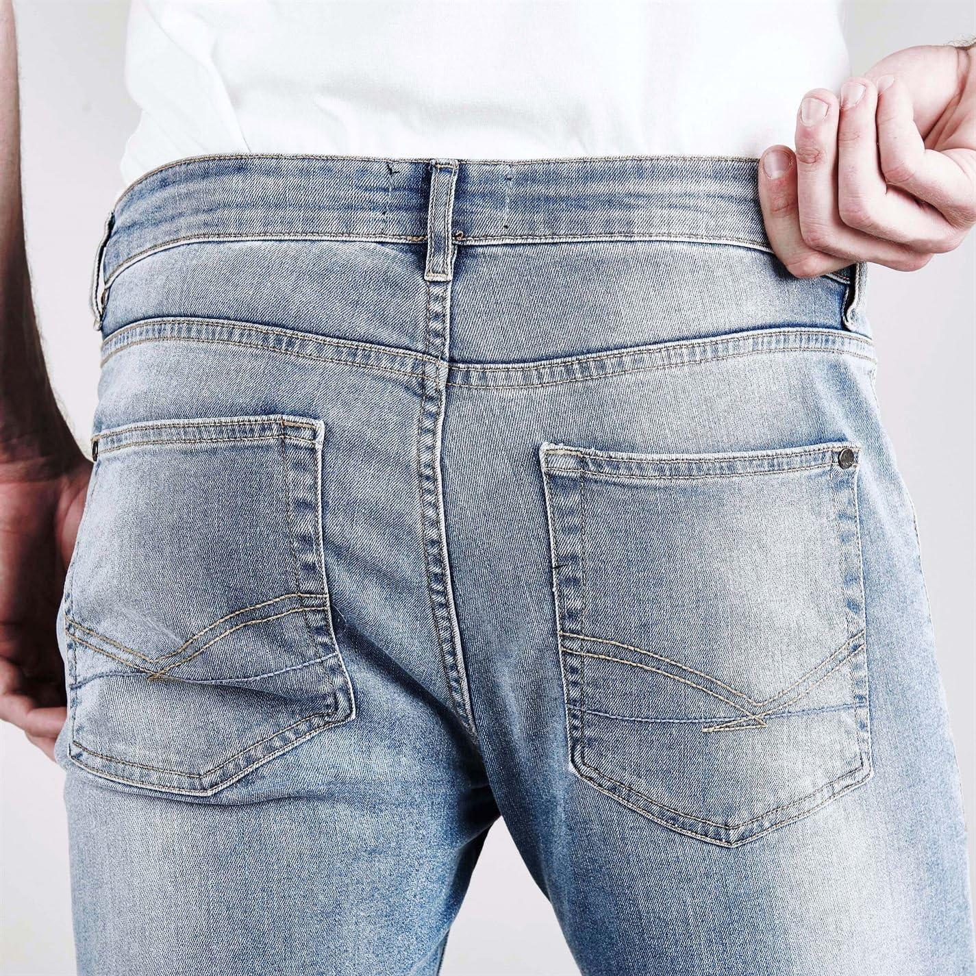 Firetrap Mens Skinny Jeans Tonal Stitching Denim Trousers Casual Pants Bottoms Bleach Wash