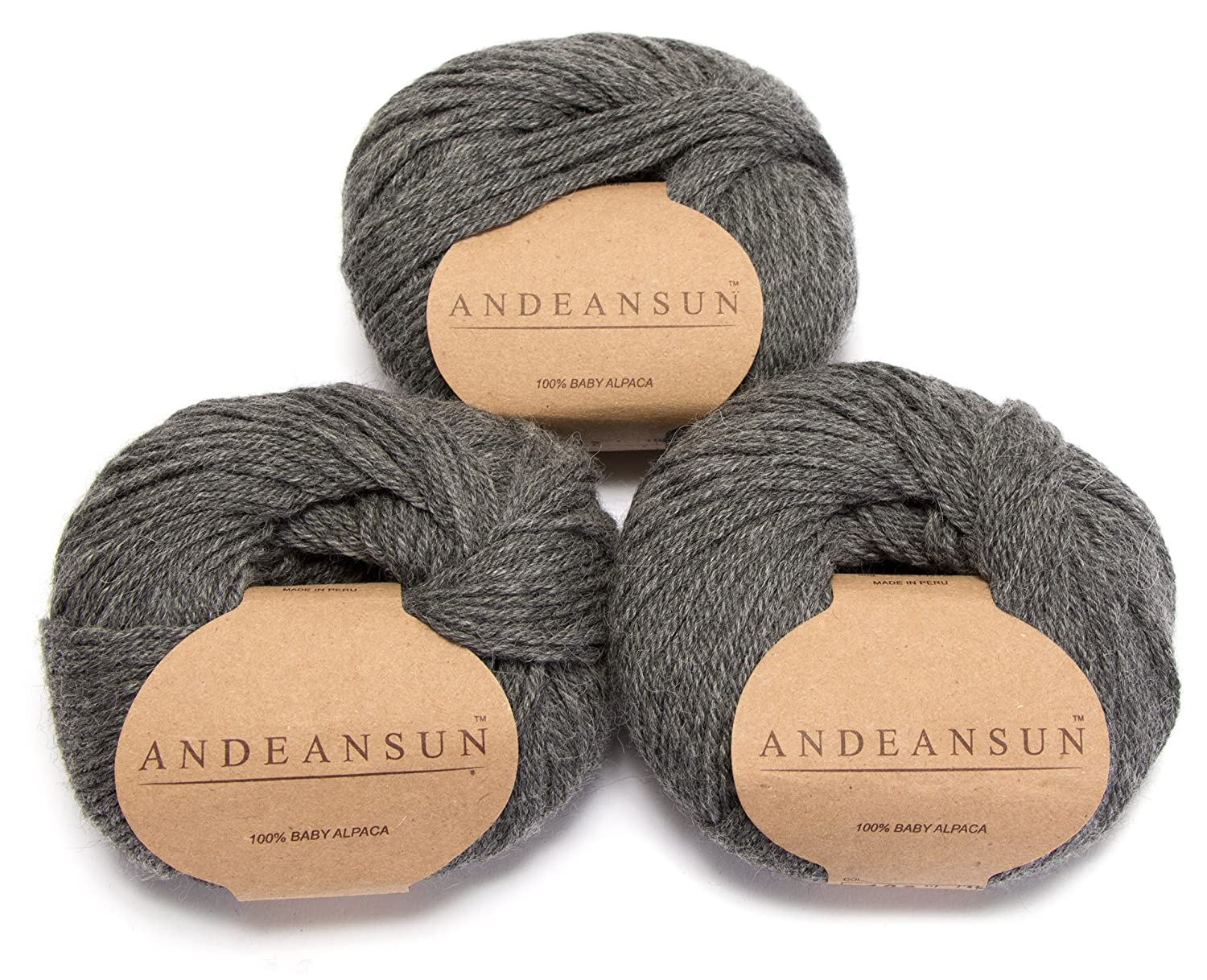 100% Baby Alpaca Yarn Skeins - Set of 3 (Medium Gray) - AndeanSun - Luxuriously soft for knitting, crocheting - Great for baby garments, scarves, hats, and craft projects Ð MEDIUM GRAY