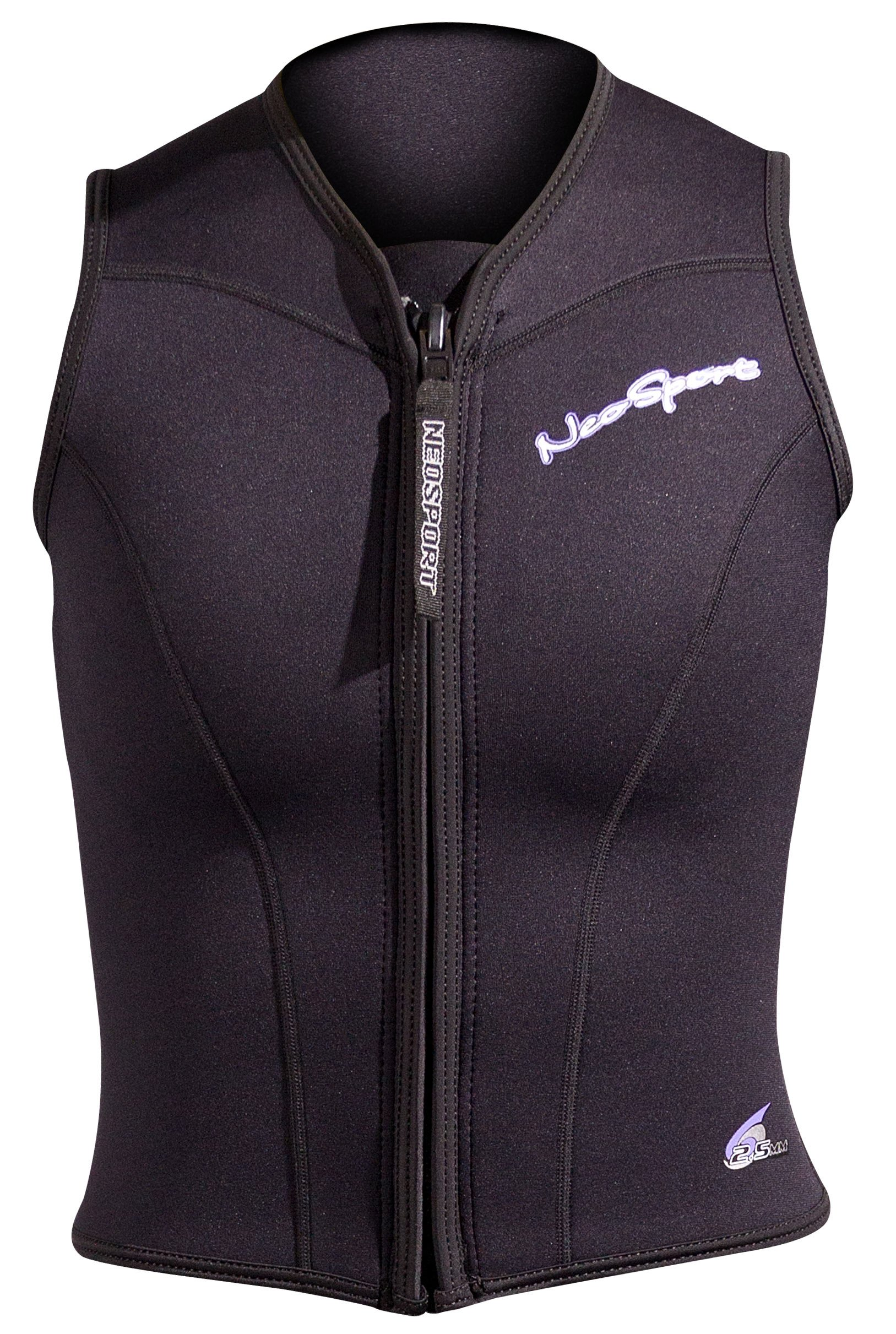 NeoSport Wetsuits Women's Premium Neoprene 2.5mm Zipper Vest, Black, 10 - Diving, Snorkeling & Wakeboarding by Neo-Sport