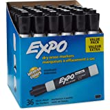 EXPO Low-Odor Dry Erase Markers, Chisel Tip, Black, 36-Count