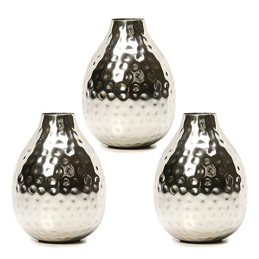 Hosleys Set Of 3 Silver Color Metal Bud Vases 45 High Ideal