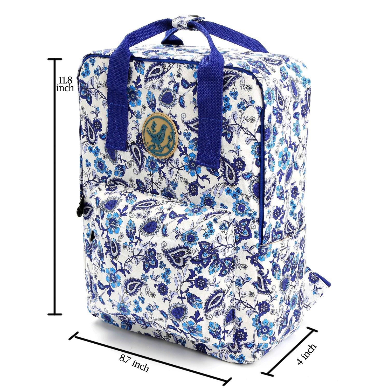 Micoop Waterproof Floral Backpack Handbag Travel School Bag for Girls and Women Dark Blue//Red Floral M