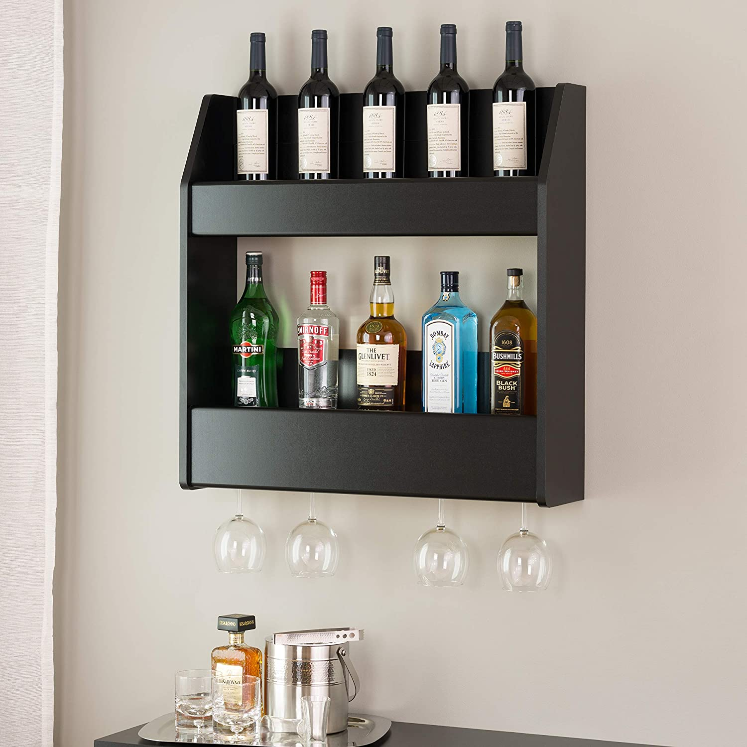 Prepac 2-Tier Floating Wine and Liquor Rack, Black