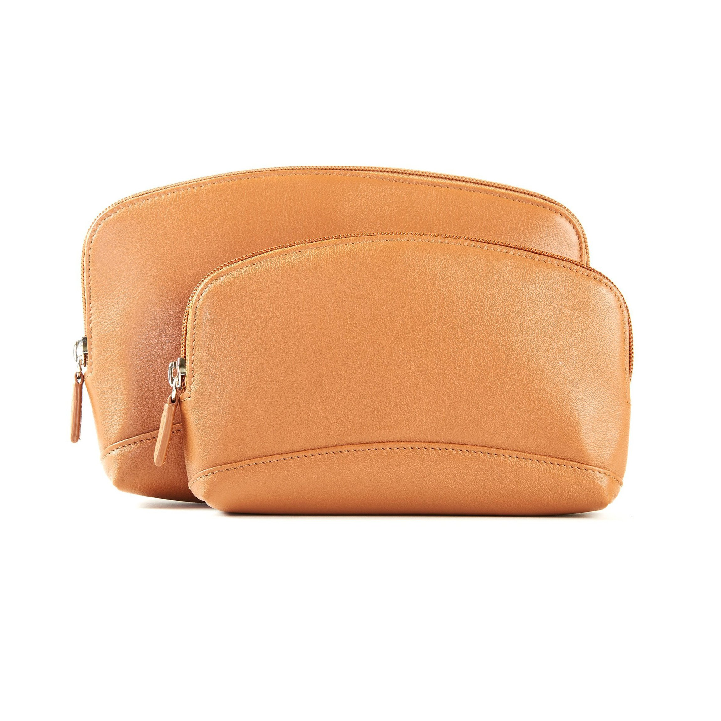 Cosmetic Bag Set - Full Grain Leather - Cognac (brown)