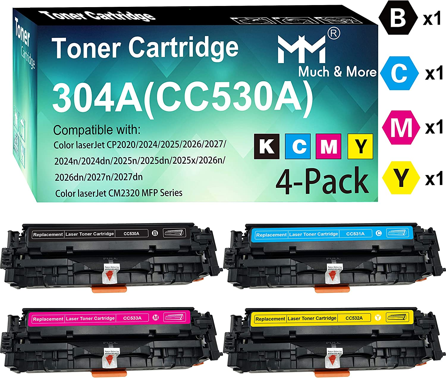 (4-Pack, B+C+M+Y) Compatible CC530A CC531A CC532A CC533A Toner Cartridge 304A Used for HP Laserjet Enterprise M351MFP M375nw M451nw M451dn M451dw MFP M475dn M475dw Printer, Sold by MuchMore