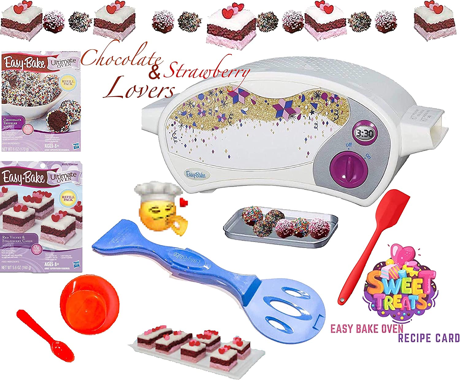 Party Lab 365 Easy Bake Ultimate Oven Baking Star Edition + 2 Oven Refill Mixes + 2 Sweet Treats Tasty Oven Recipes + Mixing Bowl, Spoon and Extra Baking Accessories (7 Total Items) (red)