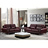 Cortesi Home Phoenix Genuine Leather Sofa Collection, Merlot (Sofa & Loveseat Set)