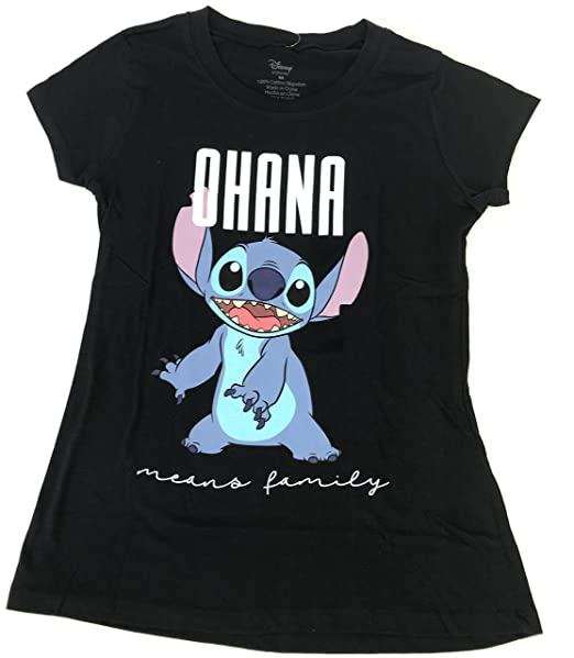141d1960 Disney Lilo & Stitch Ohana Means Family T Shirt Womens Juniors Black (Small)