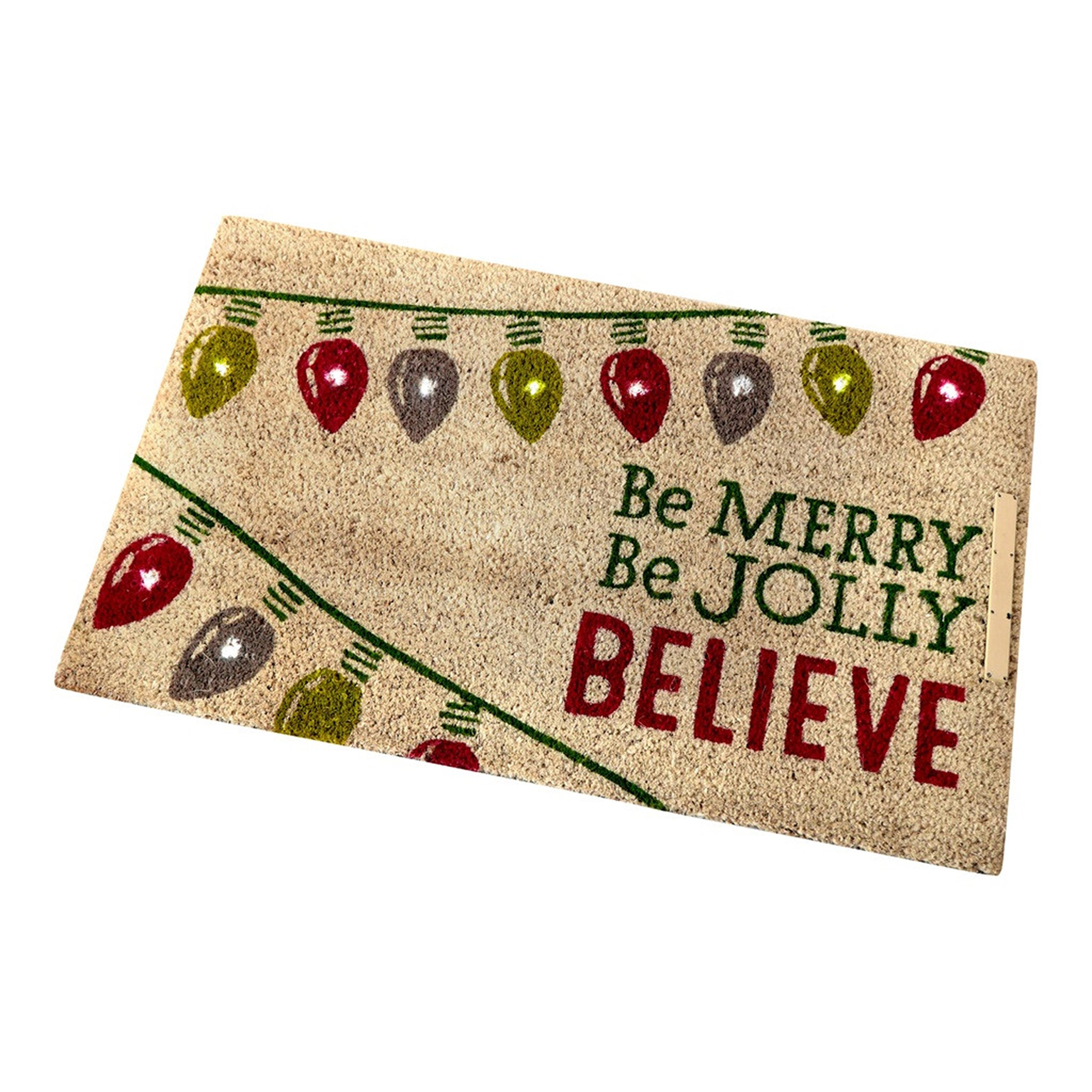Hallmark Home Natural Coir Step Activated Lighted Doormat, ''Be Merry, Be Jolly'' Red and Green Holiday Lights