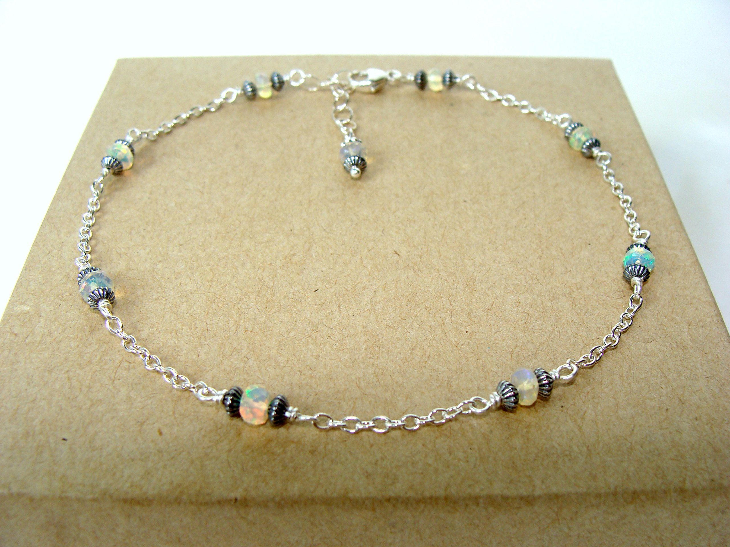 Sterling silver opal anklet, handmade ankle bracelet with Welo opals, adjustable length 9-10 inches, Let Loose Jewelry