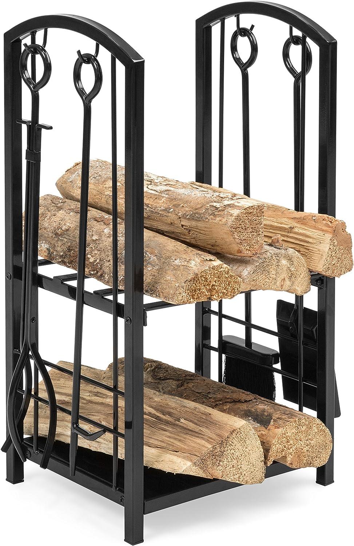 5 Piece Wrought Iron Firewood Log Storage Rack Holder Tools Set Fireplace Home
