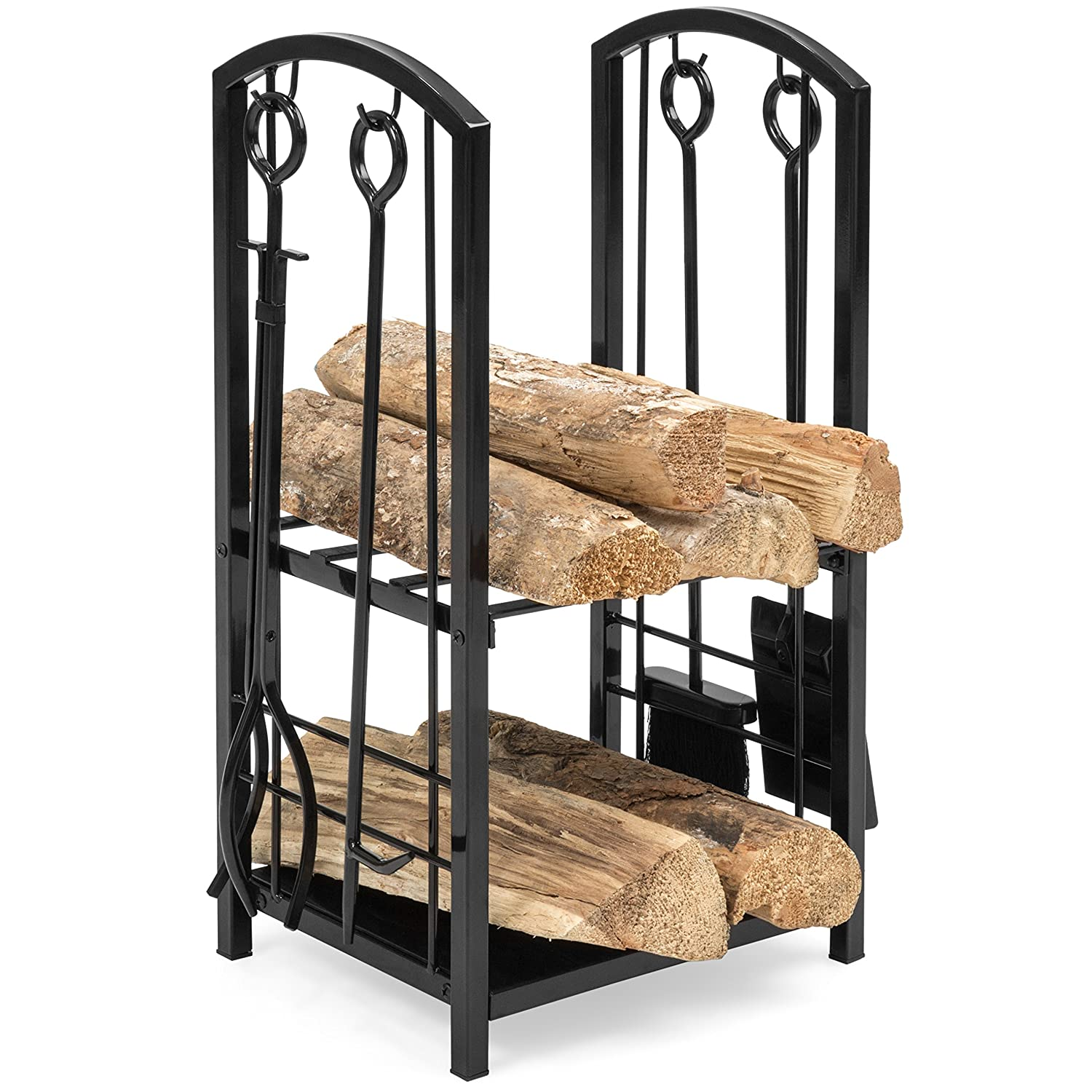 Best Choice Products Indoor Outdoor Stackable Firewood Log Rack Holder Storage Set w/Hook, Broom, Shovel, Tong - Black