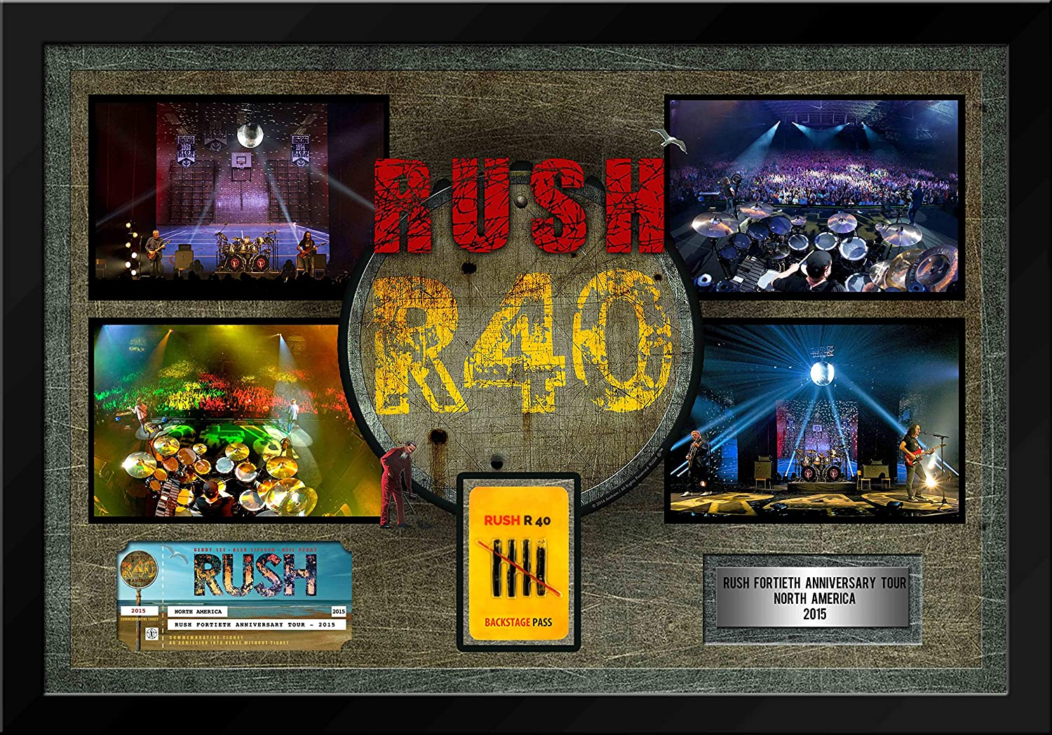 Rush Framed 40th Anniversary Tour with Commemorative Ticket/Backstage Pass