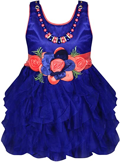abeb2e531f53 MPC Cute Fashion Baby Girl s Satin and Sifone Frock Dress for ...