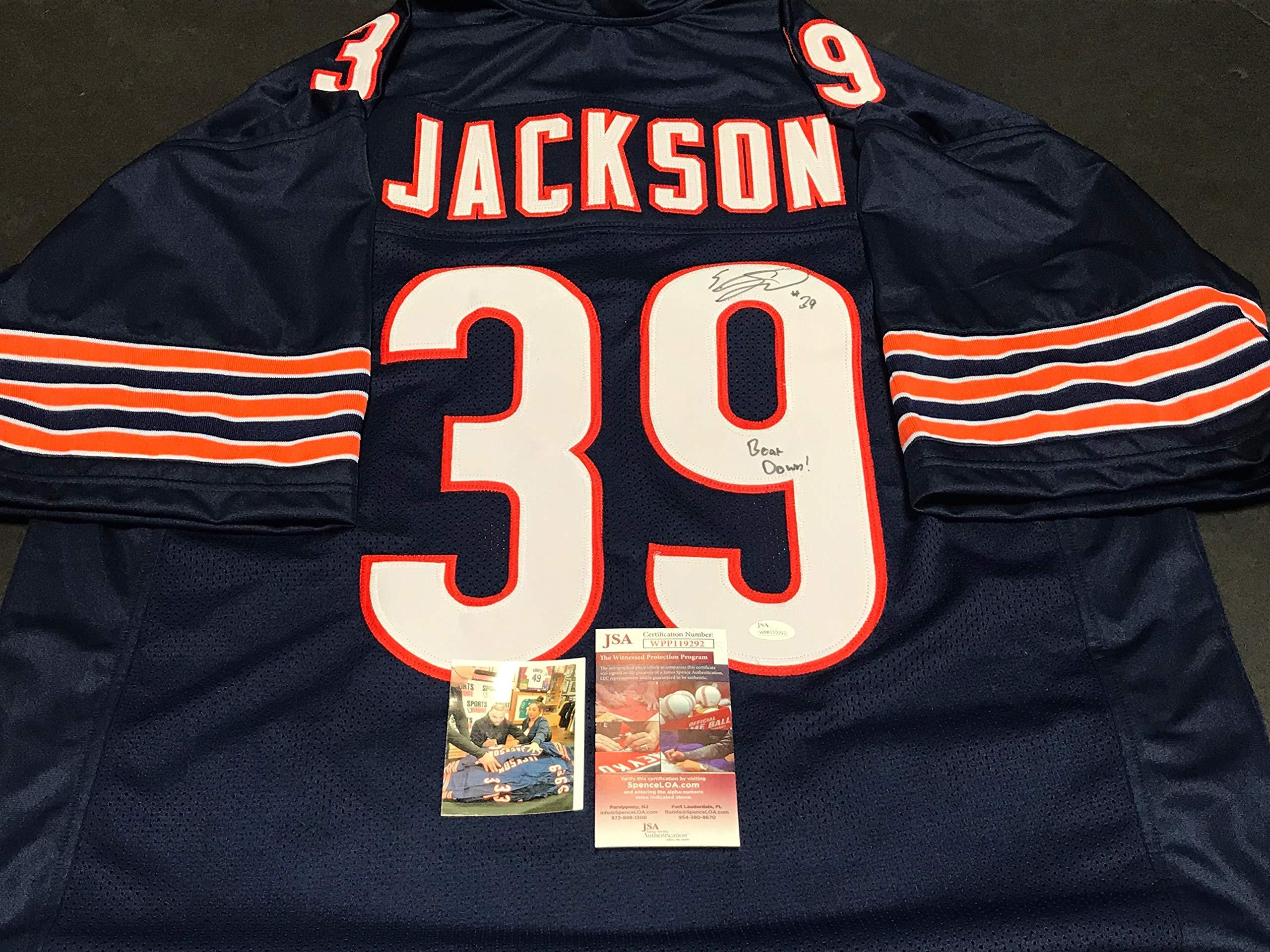 Eddie Jackson Chicago Autographed Signed Jersey JSA WITNESS COA BEAR DOWN