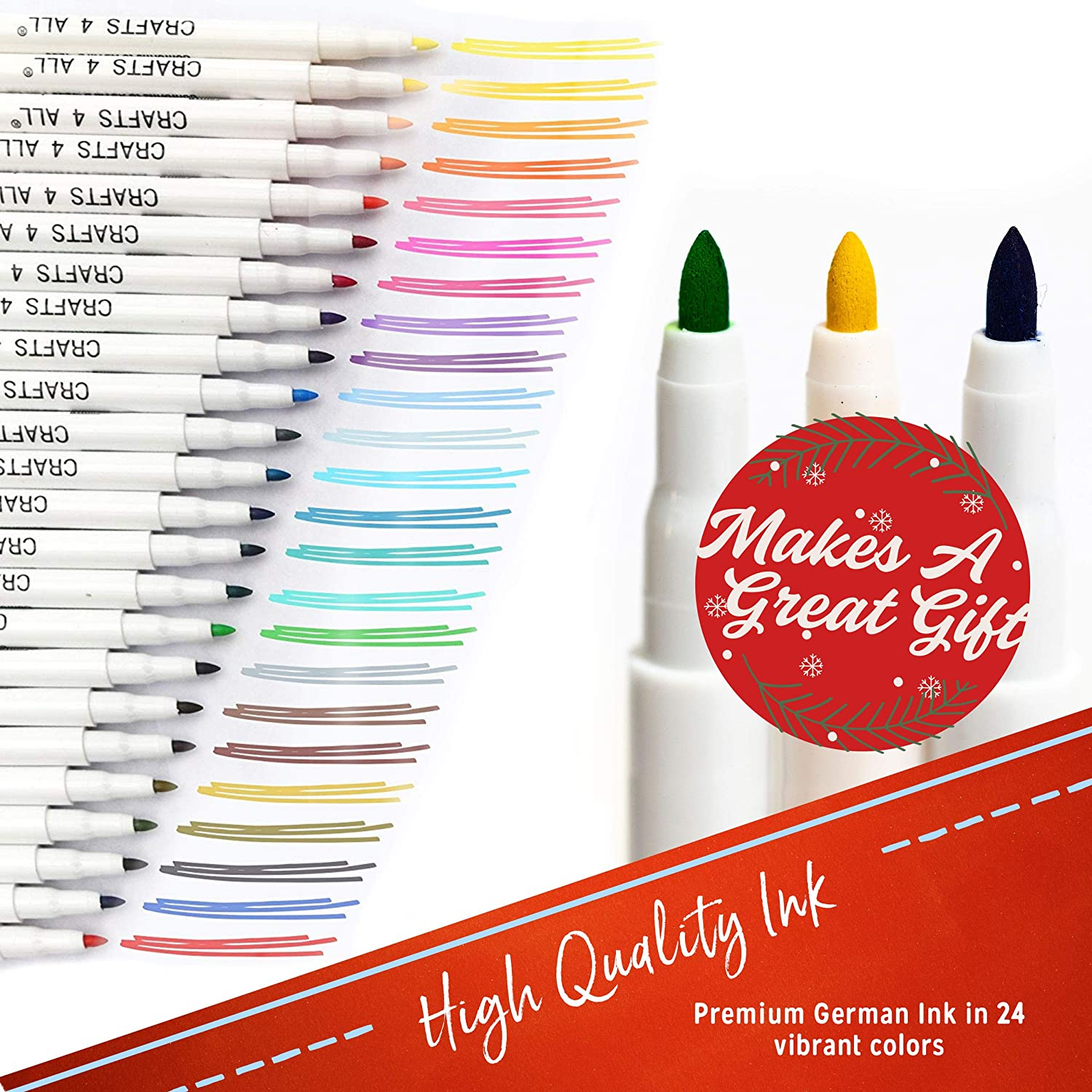 Fabric Markers Permanent Coloring Pens 24 SET Fabric Painting Dyeing Tools NEW