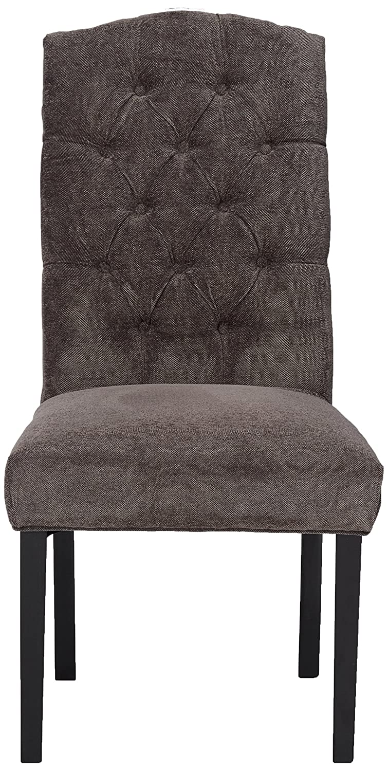 Best Selling Crown Top Fabric Dining Chair, Dark Grey, Set of 2