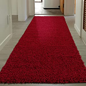 """Sweet Home Stores Shaggy Rug, 20"""" x 59"""", Red"""