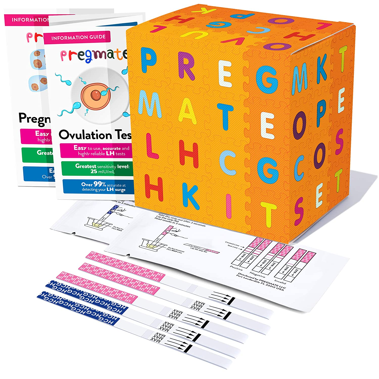 PREGMATE 90 Ovulation LH and 30 Pregnancy HCG Test Strips Predictor Kit Combo (90 LH + 30 HCG)