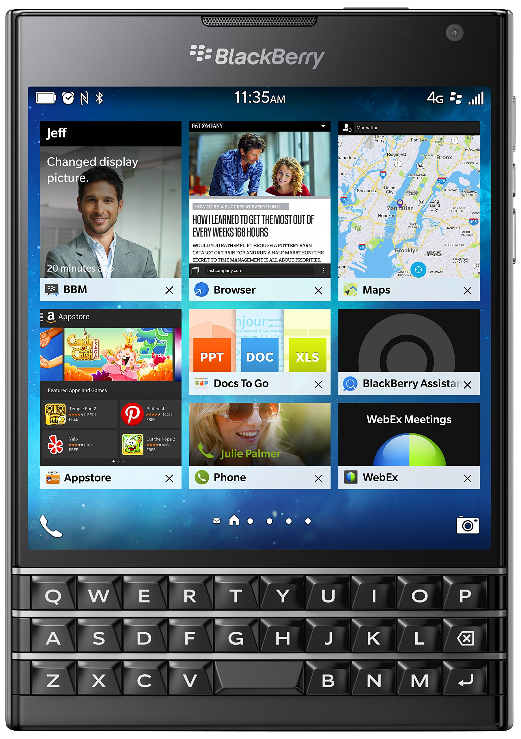 BlackBerry Passport 32GB Factory Unlocked (SQW100-1) GSM 4G LTE Smartphone - Black by Blackberry