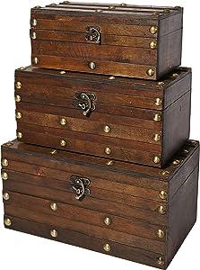 Soul & Lane Monahan Wooden Trunk Chest - Set of 3   Decorative Storage Boxes for Keepsake Toys Photos Memories