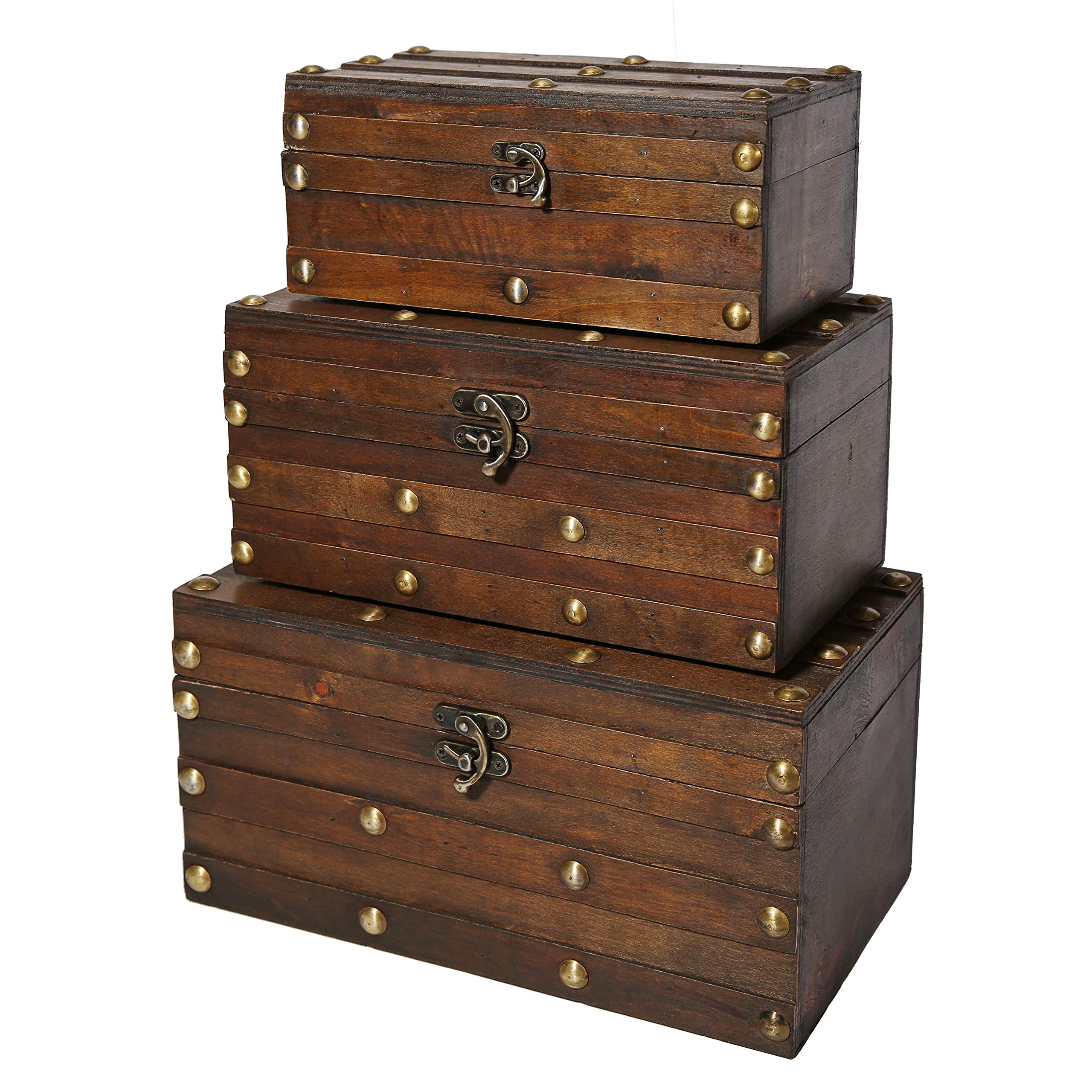 Soul & Lane Monahan Wooden Trunk Chests (Set of 3) | Decorative Treasure Storage Boxes for Keepsake Toys Photos Memories