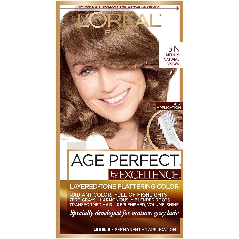L'Oreal Paris Excellence age perfect haircolor, 5n medium natural brown, 1 Count L' Oreal Paris