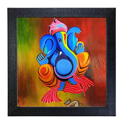 Sehaz Artworks 'Ganesh' Wall Photo Painting (Vinyl, 30 cm x 30 cm x 3 cm, Black, SZA-Ganesha_003)