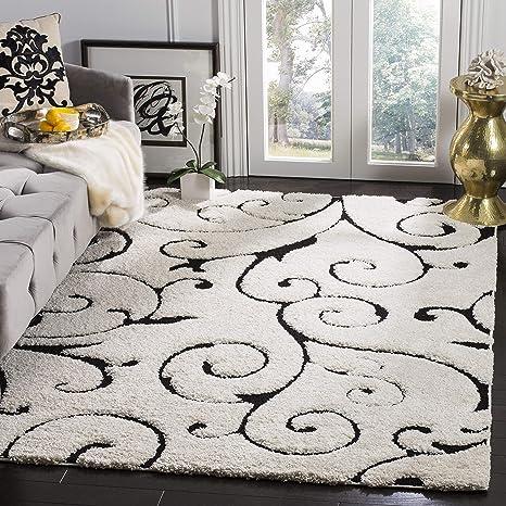 Amazon Com Safavieh Florida Shag Collection Sg455 Scrolling Vine Graceful Swirl Textured 1 2 Inch Thick Area Rug 3 3 X 5 3 Ivory Black Furniture Decor