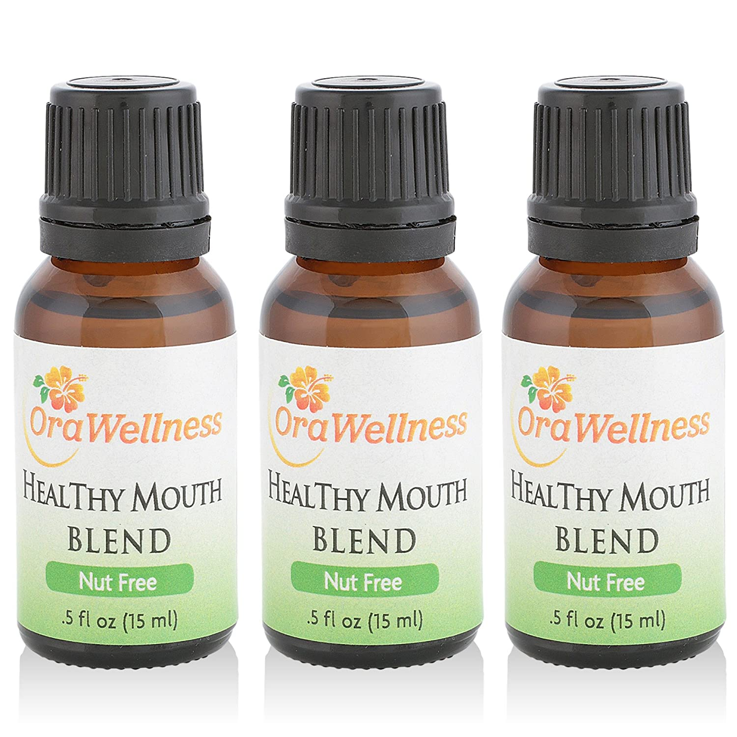 OraWellness NUT FREE HealThy Mouth Blend Tooth Oil, Organic Toothpaste & Mouthwash Alternative With Clove Oil Promotes Healthy Teeth & Gums, 3 Pack
