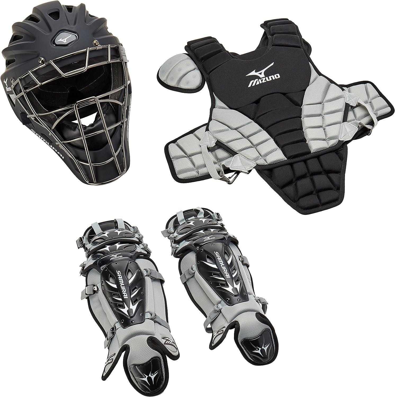 Mizuno Youth Samurai Box Set (Black/Grey) : Baseball Leg Guards : Sports & Outdoors
