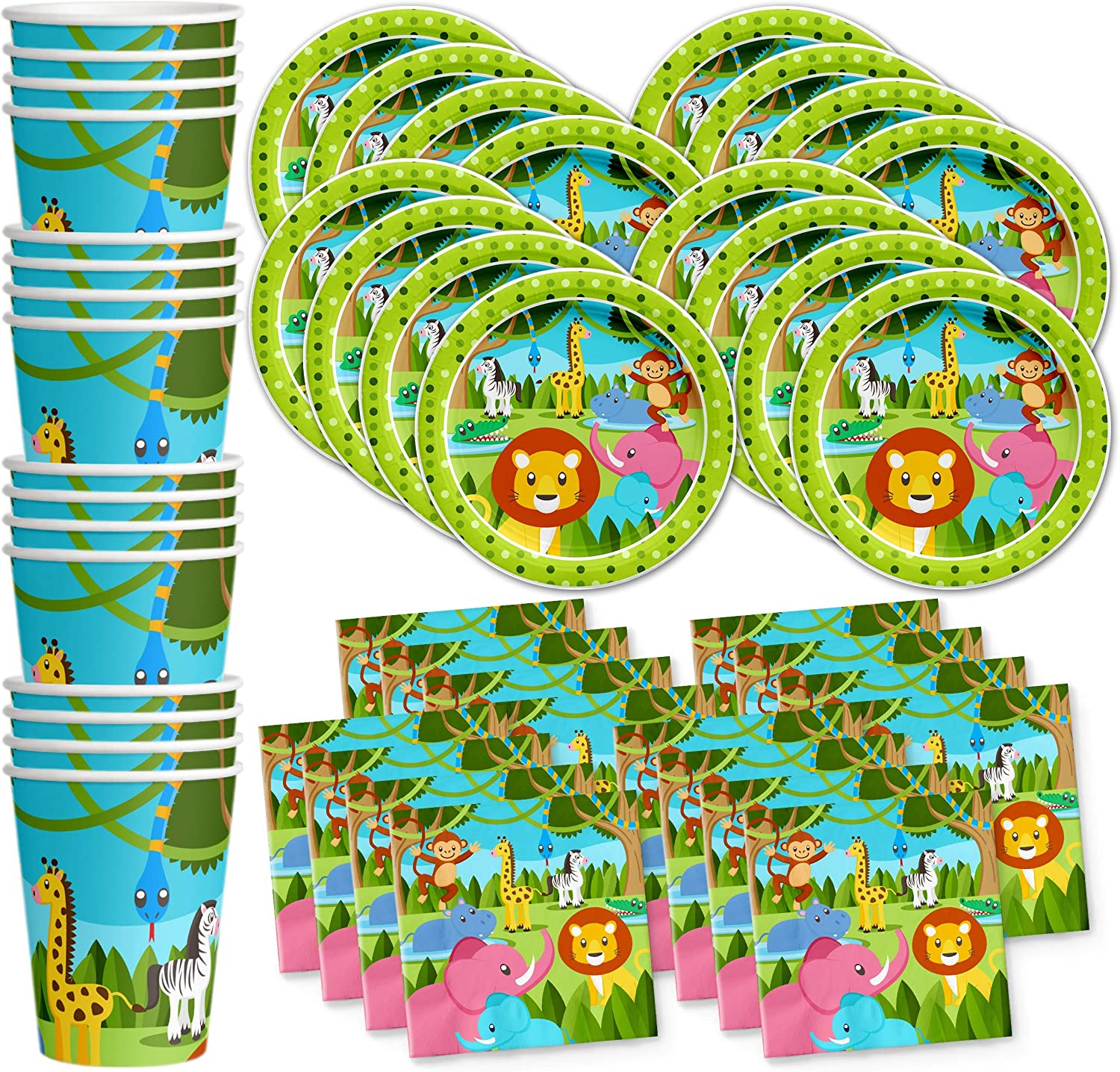 Safari Jungle Animals Birthday Party Supplies Set Plates Napkins Cups Tableware Kit for 16