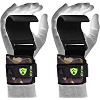 Xtrim Dura Lift -Heavy Duty Metal Lifting Steel Hooks -Best Power Weightlifting Set of 2 Thick Neoprene Padded Workout Hook -Training Gym Hook Straps-Weightlifting, Dead Lifting. Cross-Training