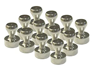 12 Brushed Nickel Magnetic Push Pins - (12 Pack)
