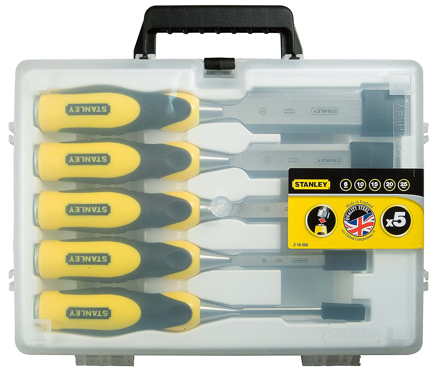 Set of 3 Pieces Stanley 2-16-887 Dynagrip Chisel-Set Yellow//Black 10-20 mm