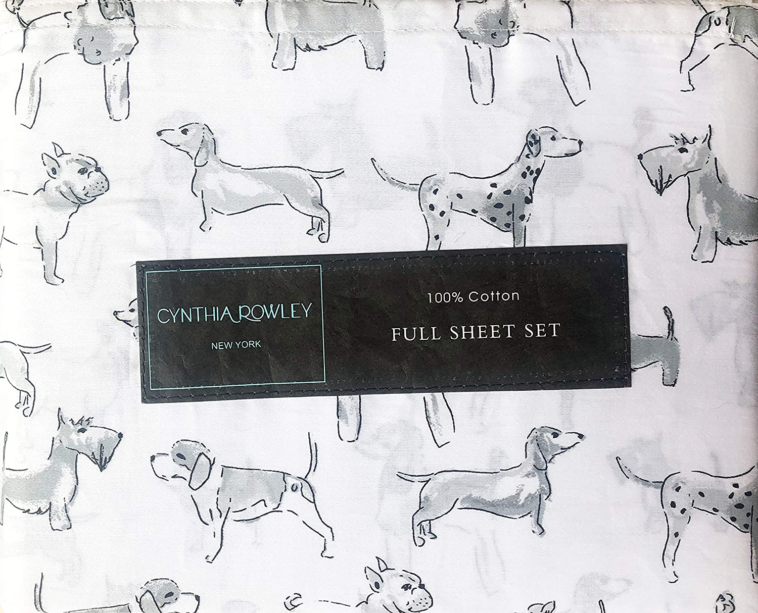 Cynthia Rowley Bedding 4 Piece Full Size Bed Sheet Set Gray Dogs Puppies Dalmatians Scotties Poodles in Shades of Gray on White