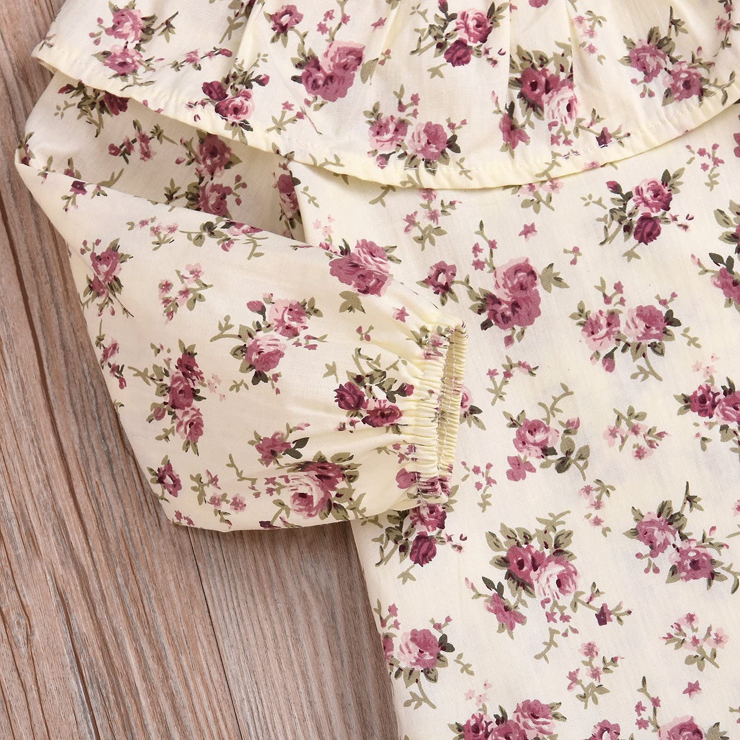 2pcs Baby Girl Long Sleeve Lotus Leaf Ruffle Collar Floral T-Shirt Top+Buttons Suspender Skirt Overalls Outfits