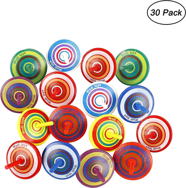 MaoXinTek Peonza de Madera Juguete de Colores Pintadas para Comuniones Niños Niñas Fiestas de Cumpleaños 30 Piezas